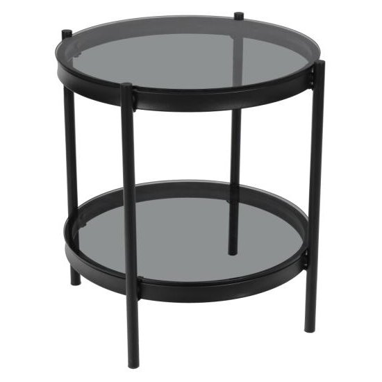 Bakersfield Smoked Glass Side Table With Black Metal Legs