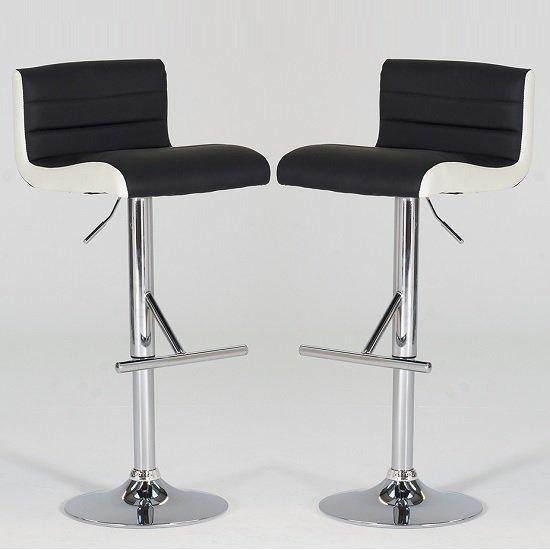 Baldwin Bar Stools In Black And White Faux Leather In A Pair