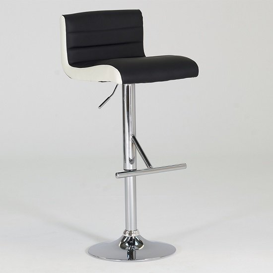 Baldwin Bar Stool In Black And White Faux Leather