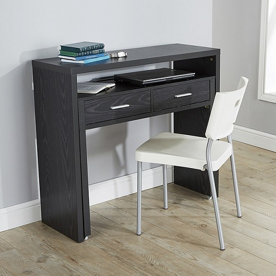 Balin Extendable Desk Or Console Table In Black With 2 Drawers