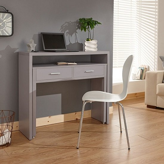 Balin Extendable Desk Or Console Table In Grey With 2 Drawers