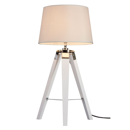 Baline Natural Fabric Shade Table Lamp With White Tripod Base_1