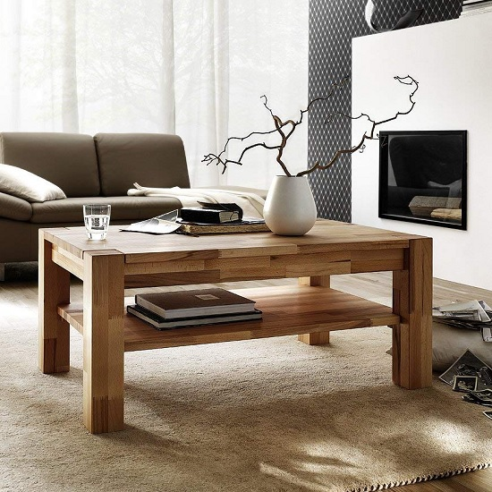 Balisaro Wooden Coffee Table Rectangular In Beech Heartwood