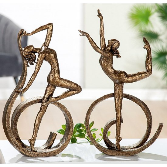 View Ballerina polyresin set of 2 sculpture in brown