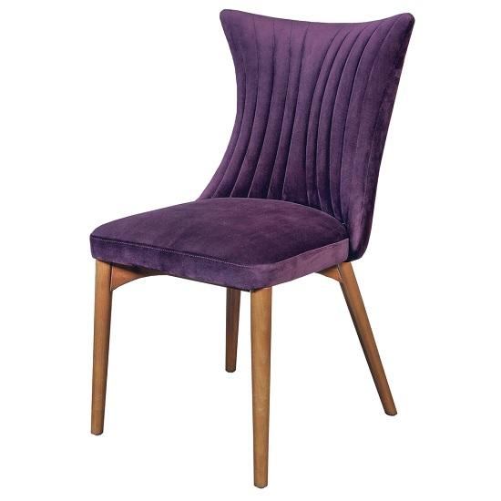 Ballina Dining Chair In Purple Velvet With Wooden Legs