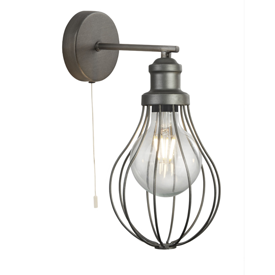 Balloon Cage 1 Light Wall Light In Pewter