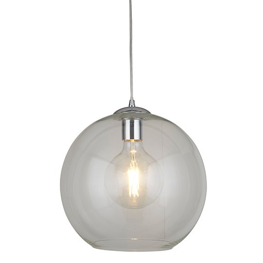 Balls 1 Light Round Pendant Ceiling Light In Clear Glass