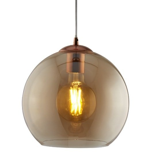 Balls 30cm Pendant Light In Amber Glass And Antique Brass