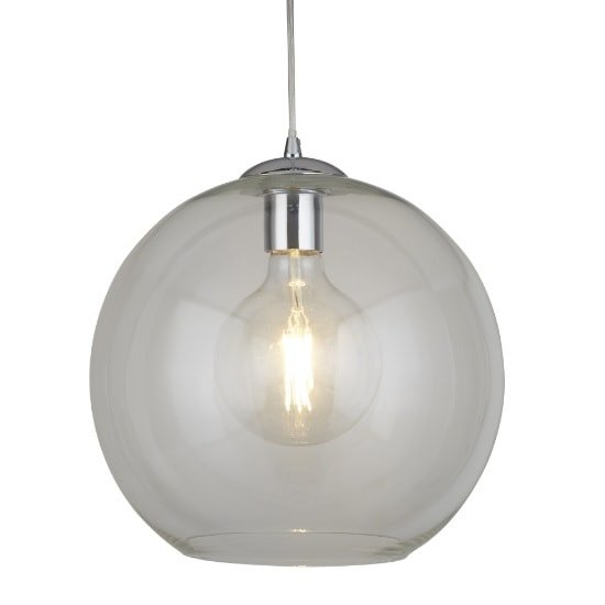 Balls 30cm Pendant Light In Clear Glass And Chrome