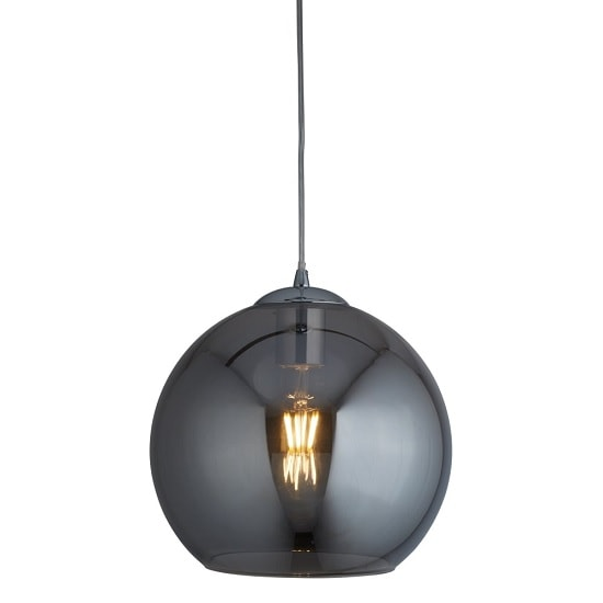 Balls 30cm Pendant Light In Smoked Glass And Chrome