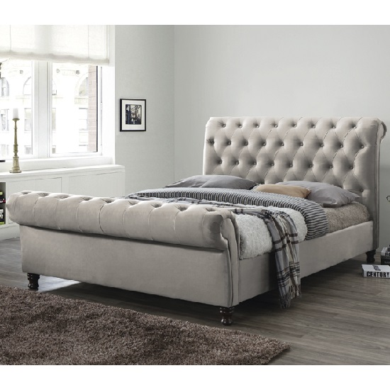 Balmoral Fabric King Size Bed In Champagne With Dark Feet