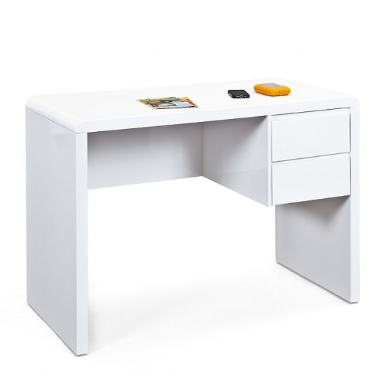 Balmoral Computer Desk In White High Gloss With 2 Drawers_1
