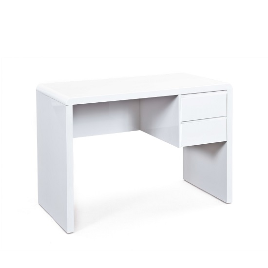 Balmoral Computer Desk In White High Gloss With 2 Drawers_2
