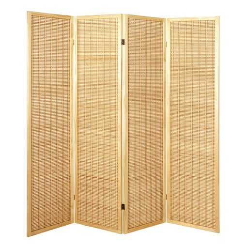 Bamboo 4 Panel Folding Room Divider In Natural