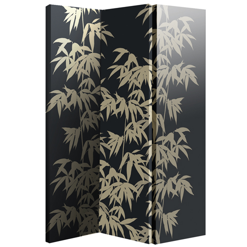 Bamboo Canvas Room Divider With Leaf Pattern