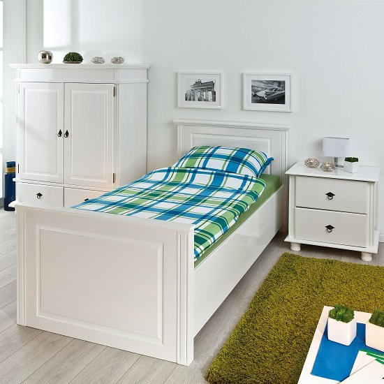 Danzig Modern Wooden Single Bed In White_2