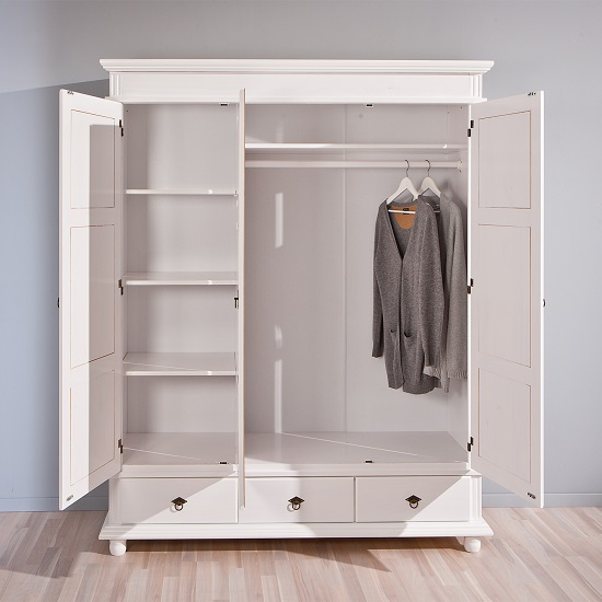 Danzig Wooden Wardrobe In White With 3 Doors And 3 Drawers_2