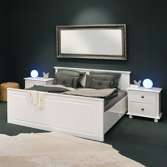 Danzig Modern Wooden Bed In White