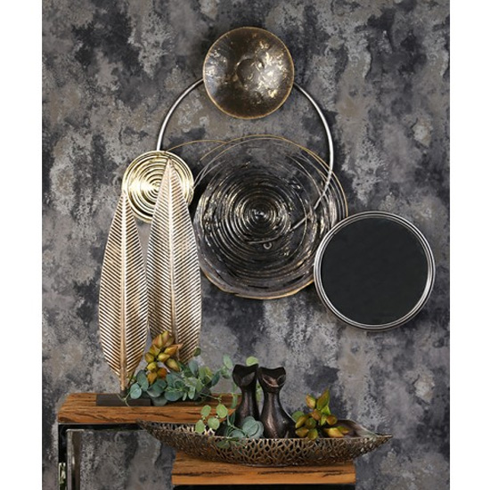 Banks Metal Wall Art In Silver And Grey With Mirror