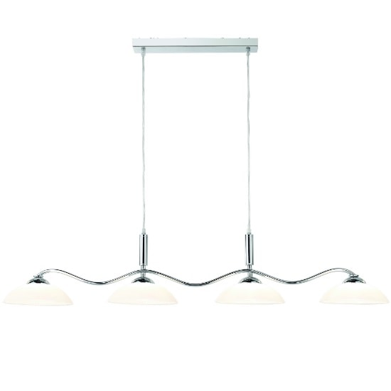 4 Light Bar Pendant In Chrome With Frosted Glass Shades