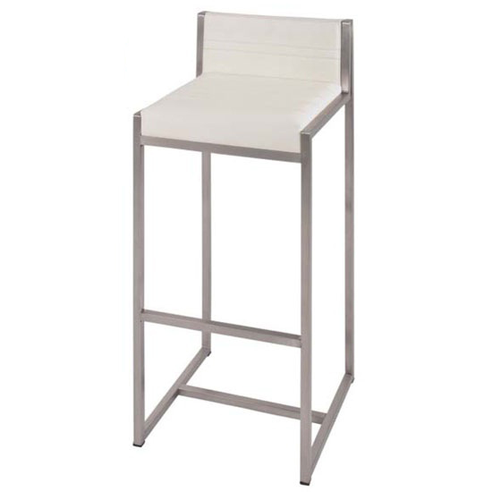 Mattia Bar Chair In White Real Leather And Stainless Steel Frame