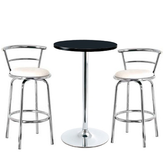 White Round Bar Table And Gas Lift Stools Buy Modern Bar