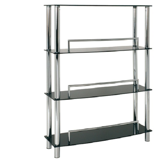 Amera Display Stand In Black Glass With Chrome Support
