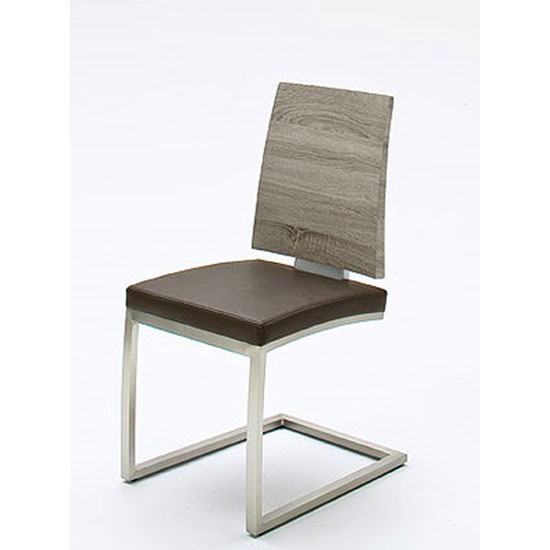 Barbuda Oak Effect Wood And Pu Leather Dining Chair
