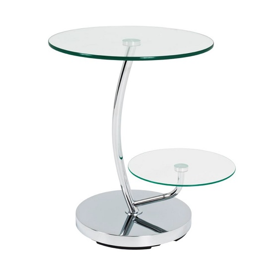 Barca End Table In Clear Glass Tops With Chrome Base