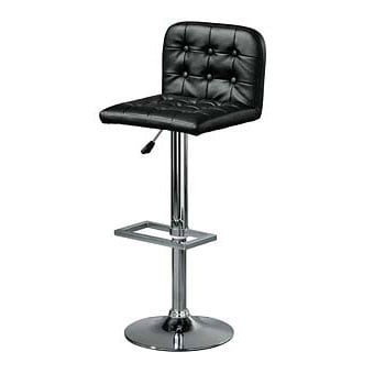 Faux Leather Revolving Bar Stool in Black, 2402156