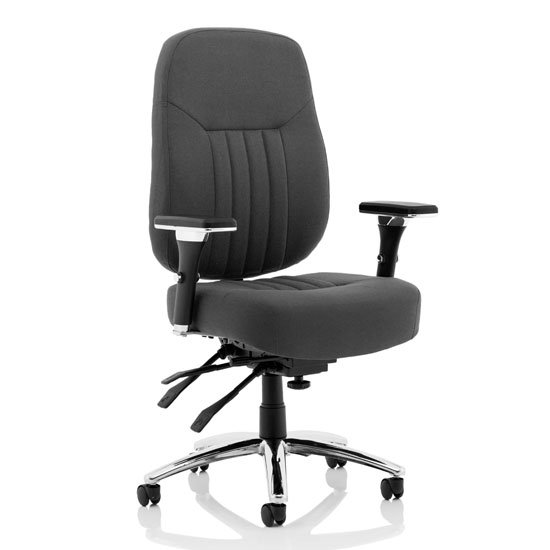View Barcelona fabric deluxe office chair in black with arms