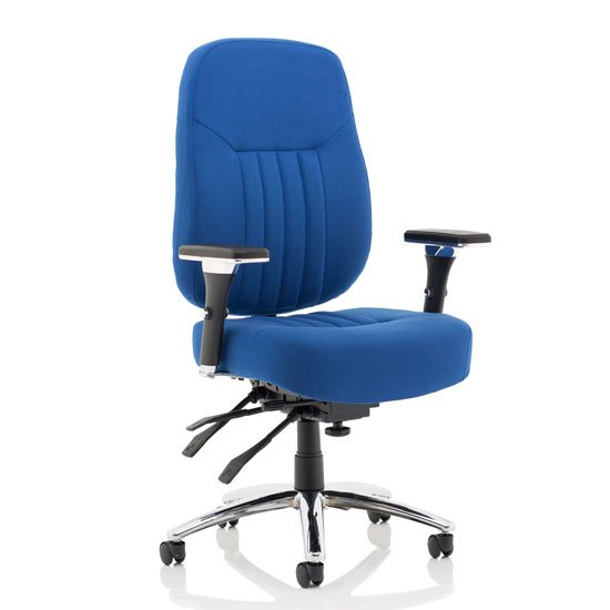 Barcelona Fabric Deluxe Office Chair In Blue With Arms