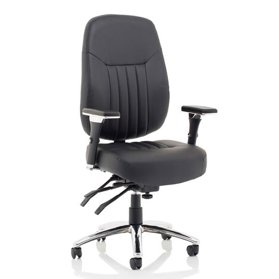 Barcelona Leather Deluxe Office Chair In Black With Arms