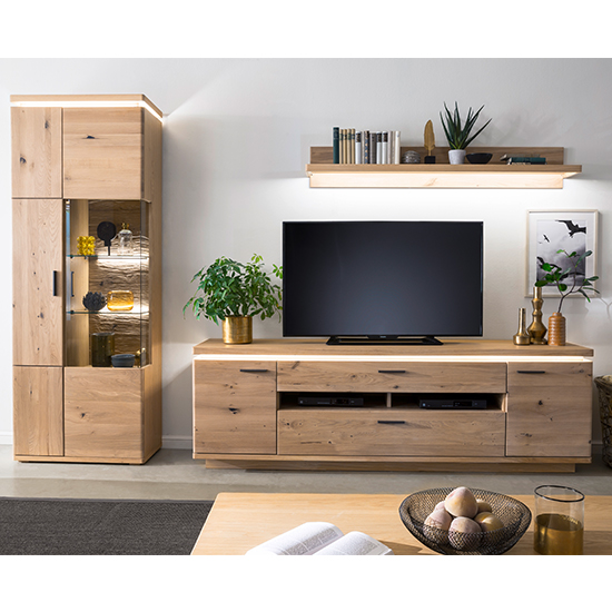 Barcelona LED Living Room Set In Planked Oak With Display Unit
