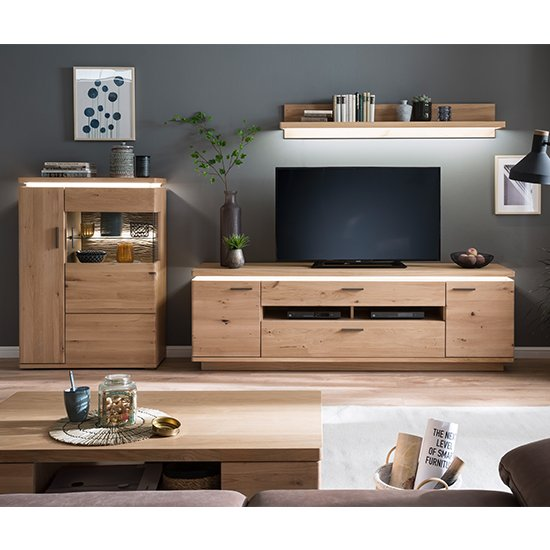 Barcelona LED Living Room Set In Planked Oak With Highboard
