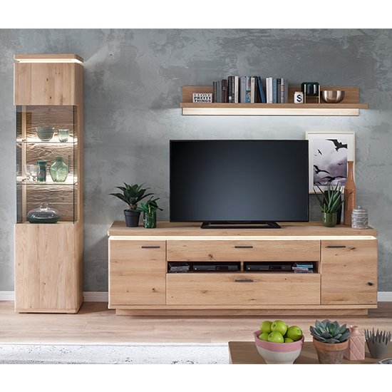 View Barcelona led living room set in planked oak with tv stand