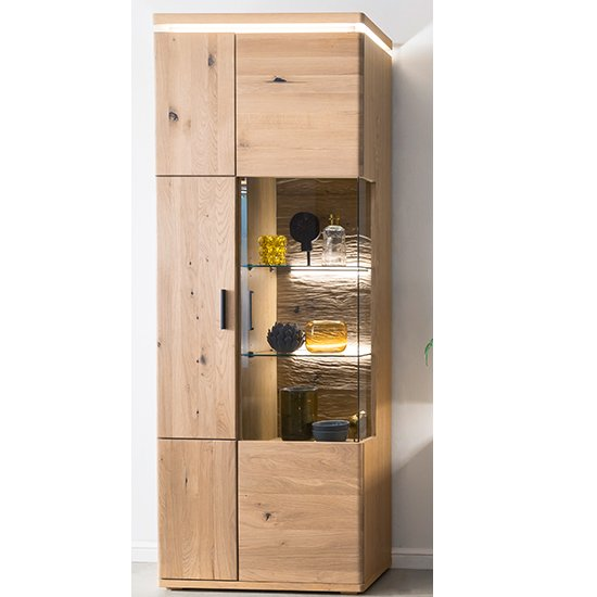 Barcelona LED Wooden Display Cabinet In Planked Oak With 2 Door