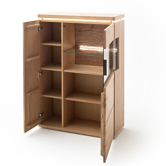 Barcelona LED Wooden Highboard In Planked Oak With 2 Doors_3