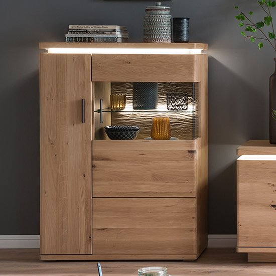 Barcelona LED Wooden Highboard In Planked Oak With 2 Doors