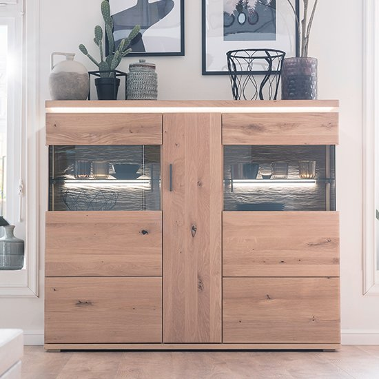 Barcelona LED Wooden Highboard In Planked Oak With 3 Doors