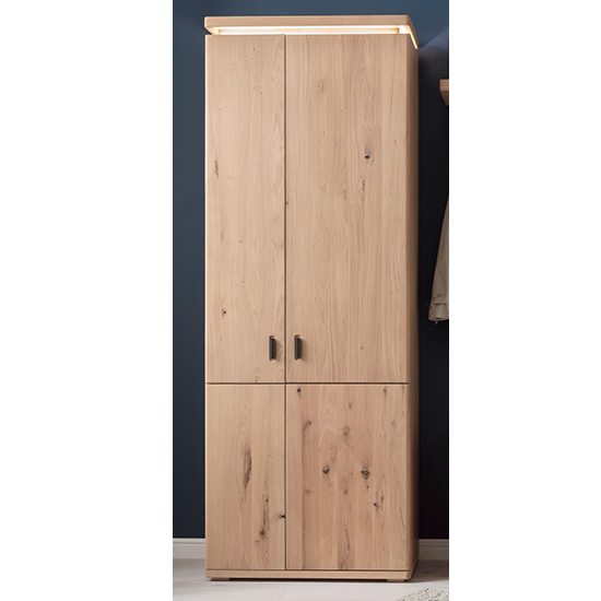 Barcelona LED Wooden Wardrobe In Planked Oak With 2 Doors
