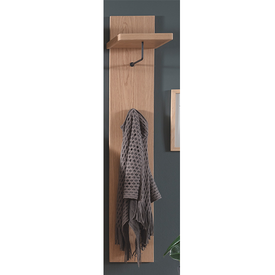 Barcelona Narrow Wooden Coat Rack In Planked Oak