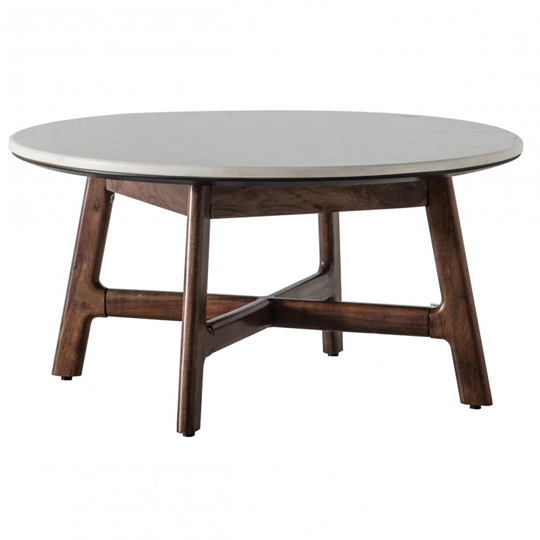 Barcelona Round Coffee Table With Marble Top