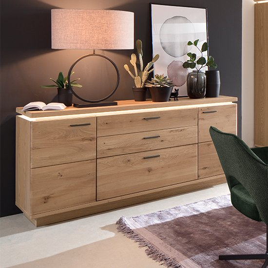 Barcelona Sideboard In Planked Oak With 2 Doors 3 Drawers
