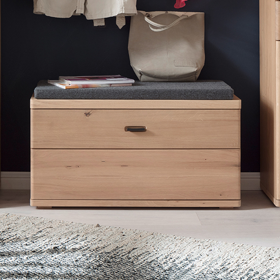 Barcelona Wooden Shoe Storage Bench In Planked Oak