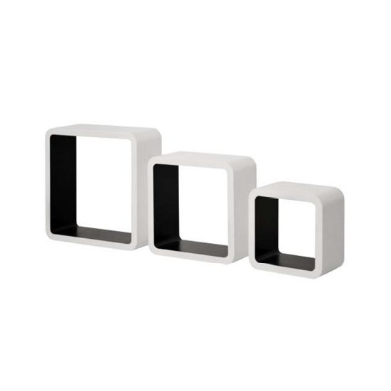Barcelona Set of 3 Wall Mounted Shelves In White And Black_4