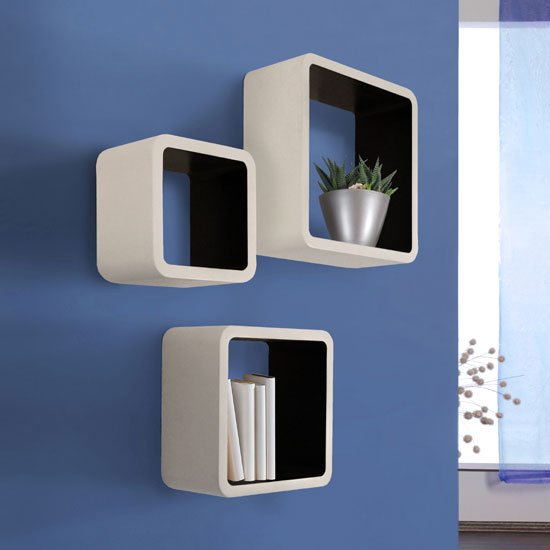 Barcelona Set of 3 Wall Mounted Shelves In White And Black_1
