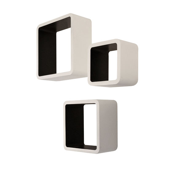 Barcelona Set of 3 Wall Mounted Shelves In White And Black_2