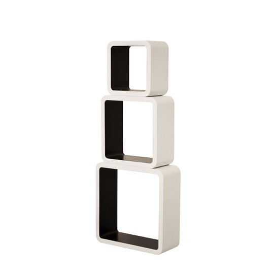 Barcelona Set of 3 Wall Mounted Shelves In White And Black_3