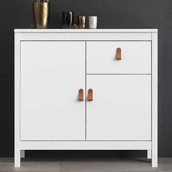 Barcila 2 Doors 1 Drawer Wooden Sideboard In White
